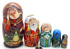 Russian MATT nesting dolls 5 TSAREVNA FROG Princess Fairy Tale SERGEYEVA signed