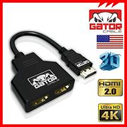 4K HDMI Cable Splitter Adapter 2.0 Converter 1 In 2 Out HDMI Male to 2 HDMI UHD