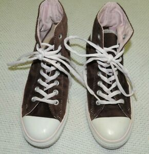 Details about CONVERSE ALL STAR BROWN VELVET VELOUR PINK TRIM HIGH TOPS WO'S 9 NICE WISSUE