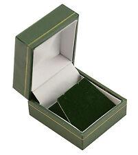 10 X Verde clásico de piel sintética pendiente Cajas