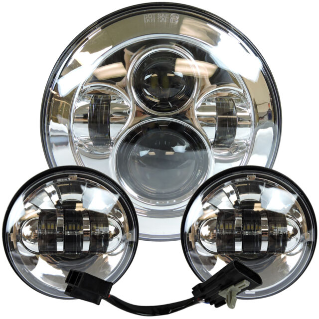 "7"" Motorcycle LED Projector Daymaker Headlight Passing Lights For Harley Tour Ch"