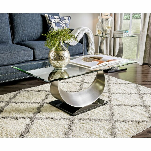 Modern Satin Plated Rectangular Glass Top Living Room Coffee Table - SILVER