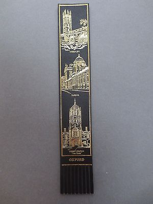 BOOKMARK LEATHER OXFORD University Magdalen College Queens Christ Church Black