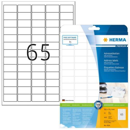 HERMA 4504 PREMIUM Adressetiketten A4 38,1 x 21,2 mm Aufkleber selbstklebend