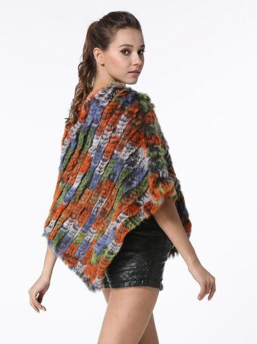 Fashion Womens Knitted Rabbit Fur Ponchos Ladies Casual Real Fur Shawls Scarves