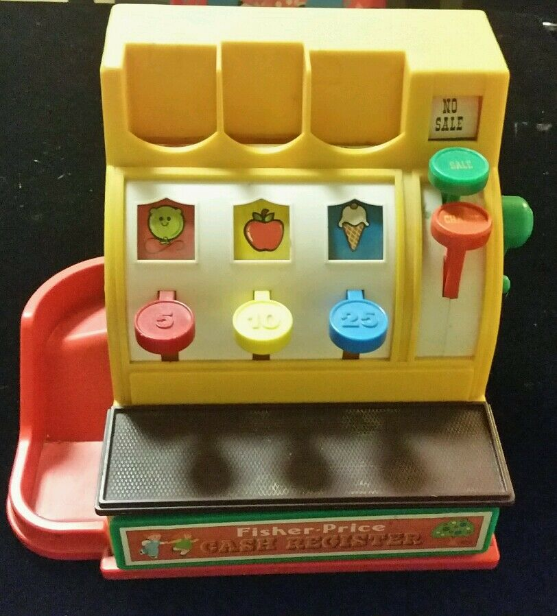 VINTAGE  OLD TOY 1974 FISHER PRICE TOYS PLAY CASH REGISTER