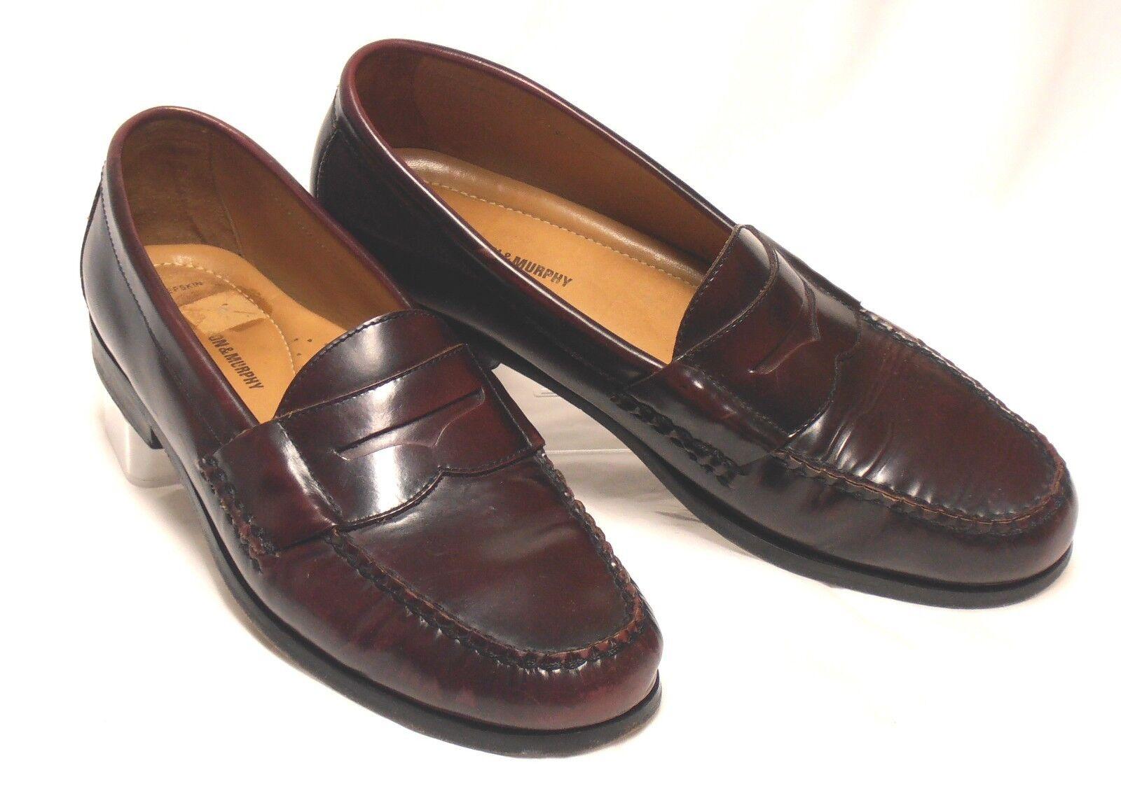 Brazilian JOHNSTON & MURPHY Size 12 Burgundy Pelle Sheepskin Penny Loafers