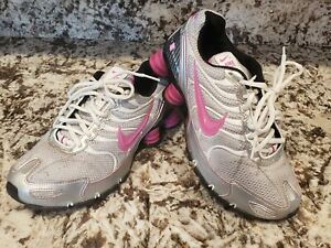 Womens Nike Shox Size 7.5 Running Shoes Pink White Silver ...