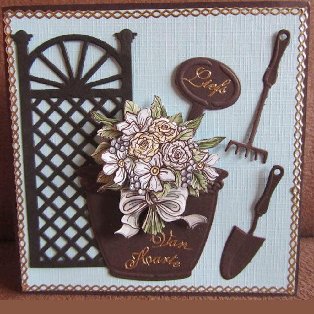 Marianne Design Collectables 3-piece Die /& Stamp Set ~ Garden COL1346 ~ NIP