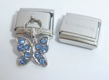BUTTERFLY w/ BLUE GEMS 9mm Italian Charm + 1x Genuine Nomination Classic Link