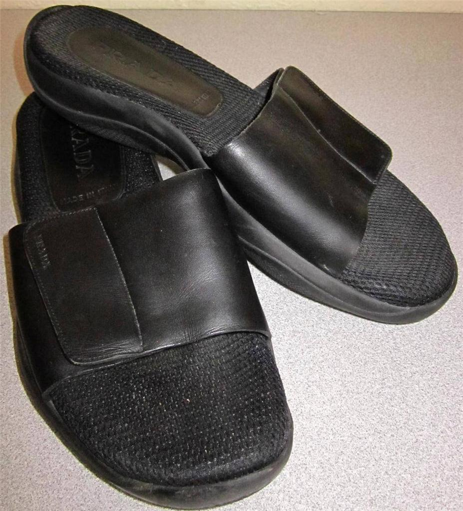 PRADA SPORT Sandales Chaussures Tongs en cuir noir diapositives SZ 9 39 Italie
