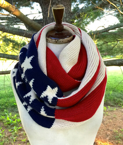 NWT SCARF Infinity Flag double wrap red ivory blue thick knit reversible  56 x14