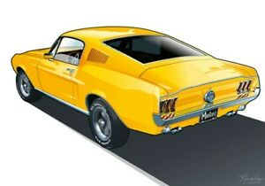 Print on canvas 1967 Ford Mustang Fastback by Dutch artist Ron de Haer