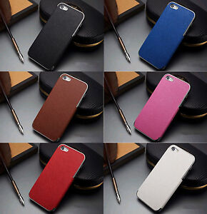 PU-LEATHER-CHROME-HARD-CASE-COVER-FOR-APPLE-IPHONE5-5S-4S-FREE-SCREEN-PROTECTOR