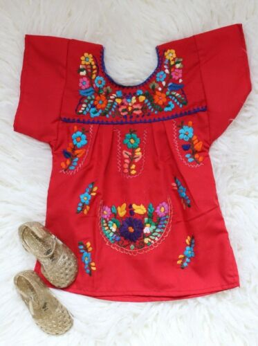Mexican Girls Dress Embroidered MultiColor Flowers Dress SZ 6M-4T