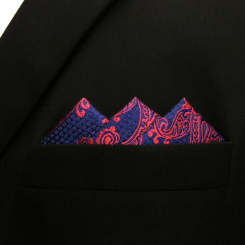 Details about  /SHLAX/&WING Paisley Blue Burgundy Red Pocket Square Mens Ties Silk Hanky