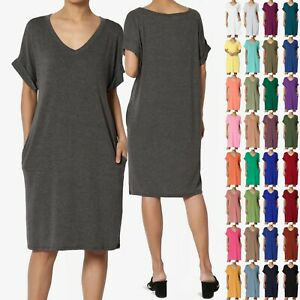 Comfortable V-Neck Short Sleeves Tunic Top with Side Pockets S~3X