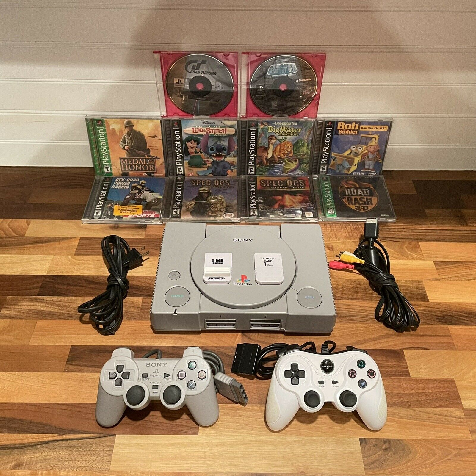 Sony Playstation 1 PS1 Console Bundle Complete Controllers Cords 10 Games Memory on eBay thumbnail