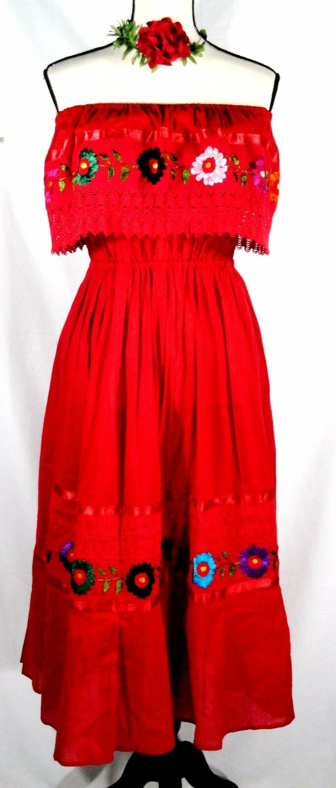 HAND Embroidered Crochet RED Mexican DRESS Floral PEASANT Vintage 1 Sz COTTON