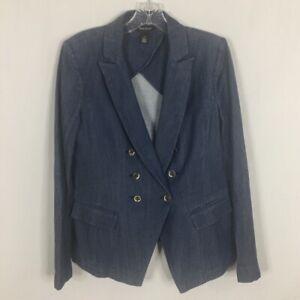 White-House-Black-Market-Women-039-s-Blazer-10-Blue-Denim-with-Stitching-Detail
