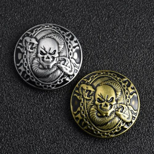 Skull with Snake Concho Screw Back Punk Ornament 30mm