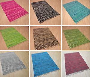 handwebteppich gestreift 100 baumwolle handweb teppich fleckerl waschbar neu ebay. Black Bedroom Furniture Sets. Home Design Ideas