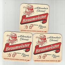 "Lot of 3 1950 Braumeister Beer Coasters=Milwaukee,WI  3"" #008 ""Special Pilsener"""