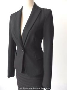 CUE-IN-THE-CITY-Women-039-s-Corporate-Work-Jacket-NEW-Size-6-US-2-Black-Pinstripe