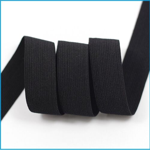 Flat Woven Stretch Elastic Black White Waist Bands Cuff Tailoring Sewing 5 Sizes