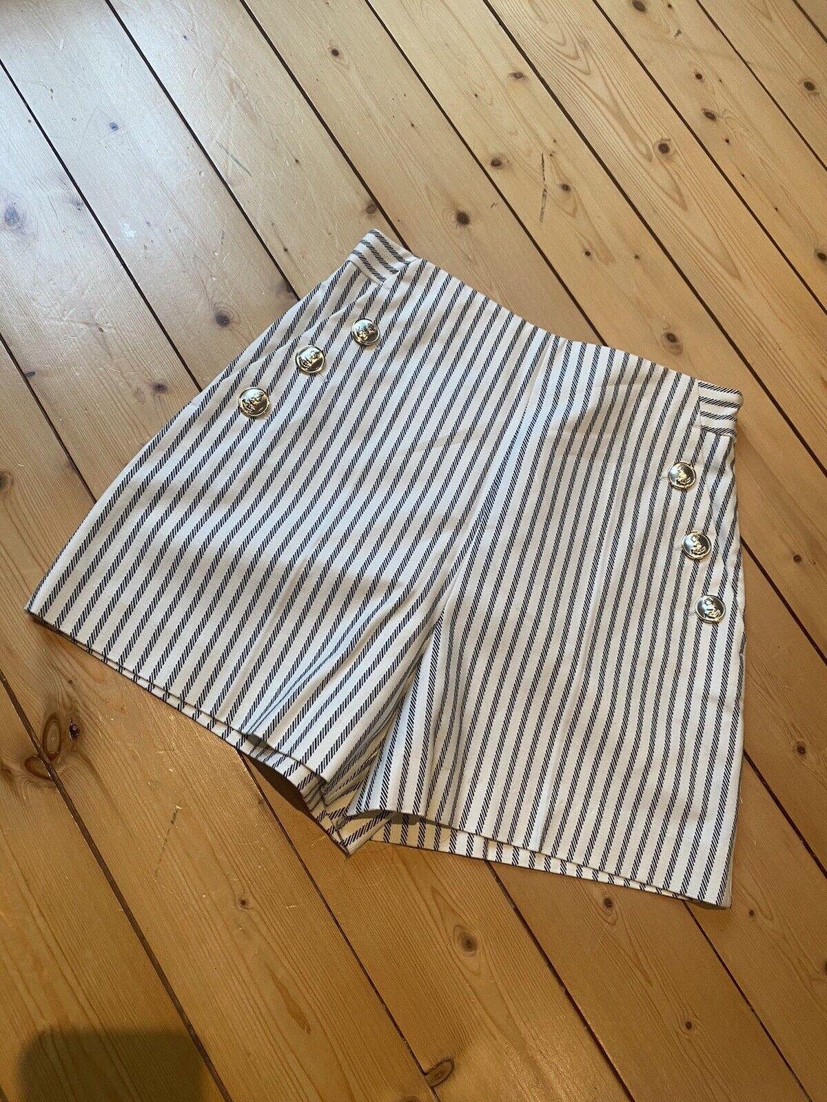 Zara Shorts Xs Maritim Neu Mit Etikett Blau Weiß Gestreift Chic Elegant Anker