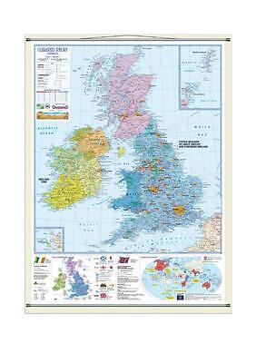 Cartina Fisica Regno Unito In Italiano.Regno Unito E Irlanda Carta Scolastica Fisica Politica Ebay