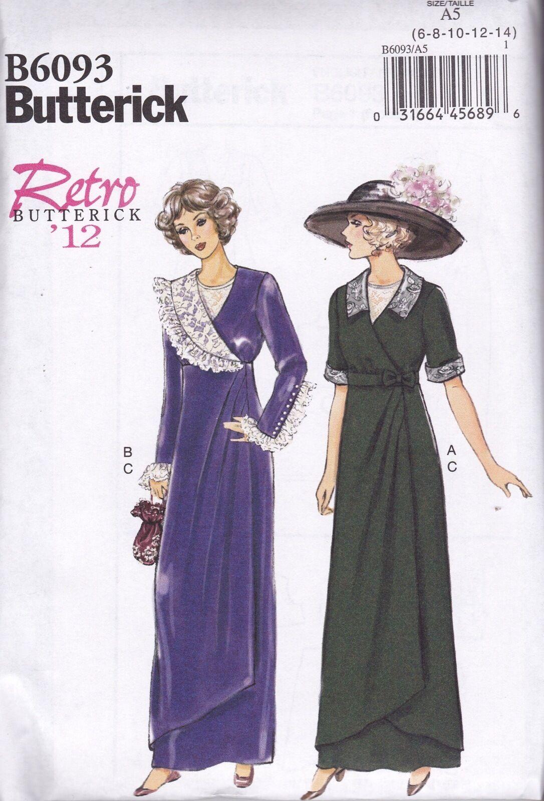 09e67b8d6a2 Butterick USA Sewing Pattern B 6093 A5 Ladies Dress Clothes Retro ...