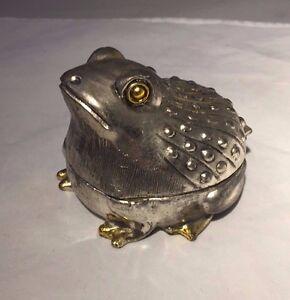 Vintage Silver Metal Frog Trinket Box 35 Frog Jewelry Box eBay
