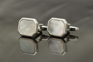Pair-of-Cufflinks-silver-colour-amp-mother-of-pearl-rectangle-head