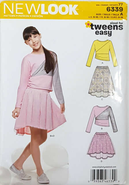 Look 6339 Girls Tween Tops Skirts Sewing Pattern 8 10 12 14 16 Easy