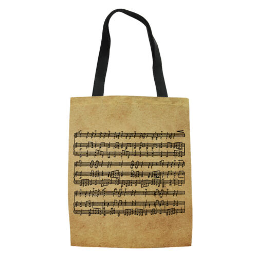 Musical Style Canvas Handbag Girls School Shoulder Bags Casual Totes Hobo Bags