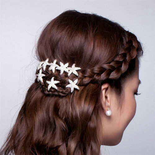 Women 5pcs U-shaped Rhinestone Hair Pin Starfish Hair Accessories Wedding