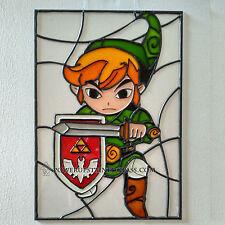 Zelda Wind Waker link Faux Stained Glass Panel / wall art / suncatcher. nintendo
