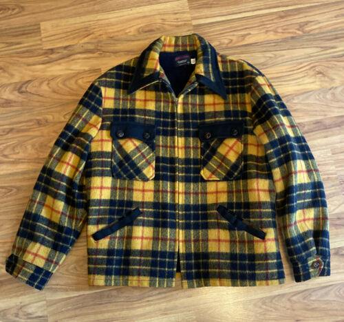 Vintage Plaid Wool Coat, Yellow,black & red, Expre