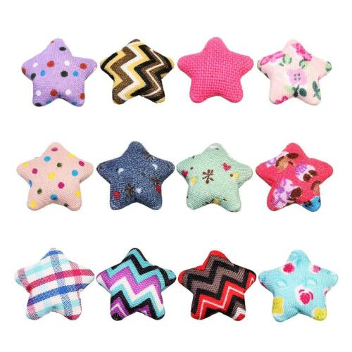 24x Star Shape Fabric Flatback Crafts Buttons Scrapbook Embellishment 20mm