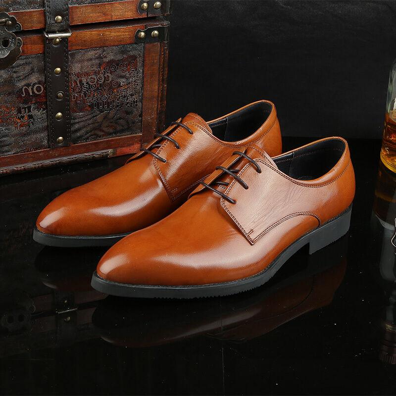 design semplice e generoso New Uomo Real Leather Dress Formal Formal Formal scarpe Lace up nero Marrone H71781  benvenuto per ordinare