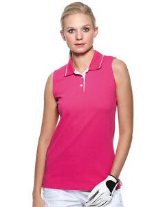de-Mujer-Senora-Liso-Rosa-sin-mangas-cotton-Deportes-Tenis-Camisa-Polo-Talla