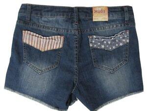 NWT Patriotic MUDD Stars /& Stripes Peek Pockets PLUS Sz Denim Girls SHORTS Pick