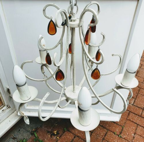 Laura Ashley Chandelier White Ceiling H48cm Chandelier with Amber//White Droplet