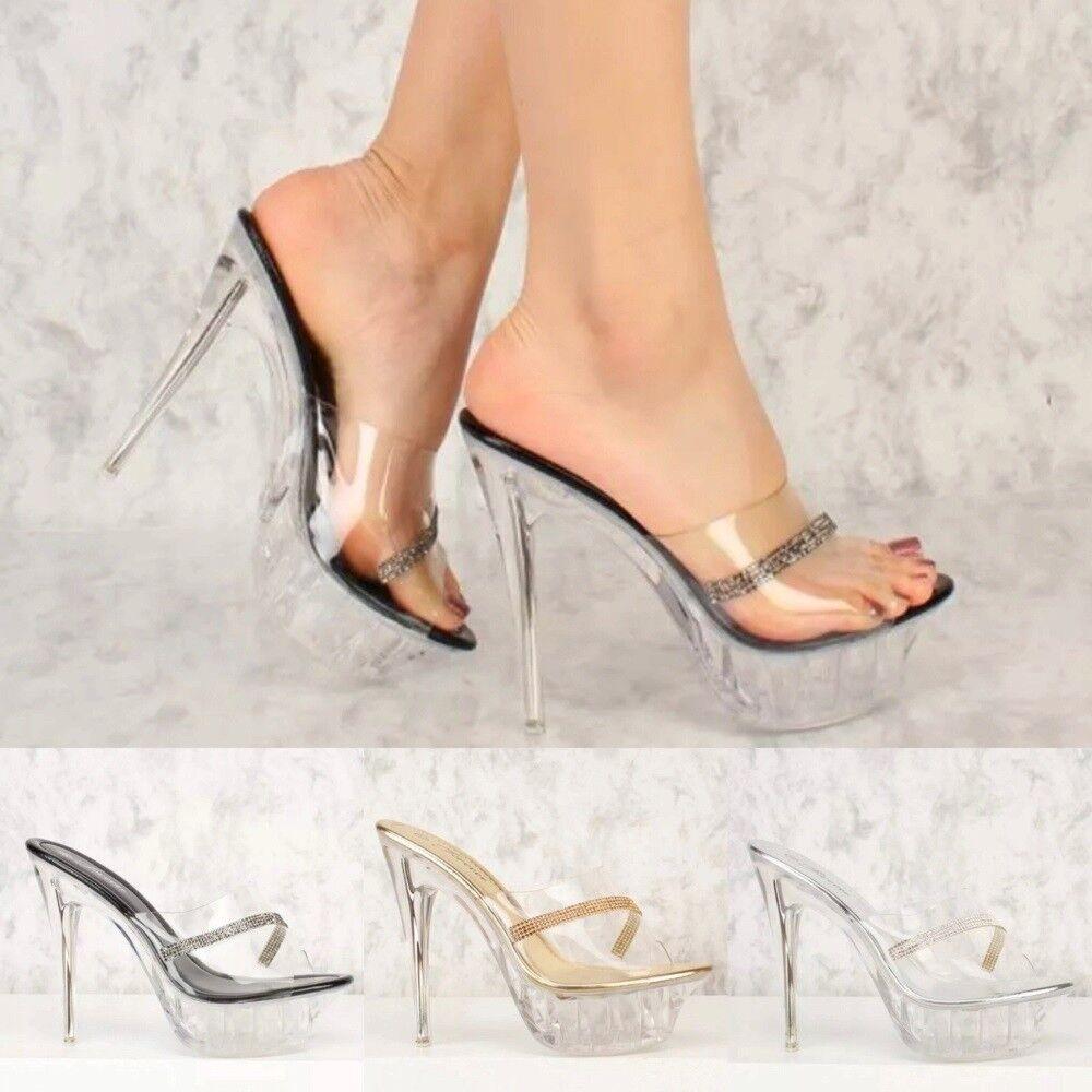 Slip on Clear Rhinestone Accent Peep Toe Platform Pump High Heels Women Sandals