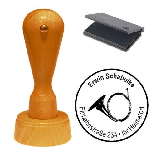 Stempel « Horn 02 » Adressenstempel Motivstempel Holzstempel Musikschule