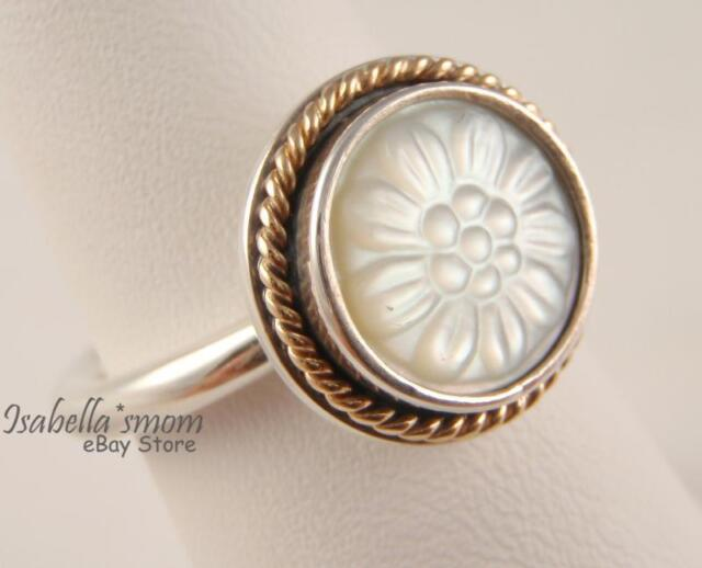 bc2b6222abdb9 Daisy Signet Genuine PANDORA Silver/mother of Pearl/14k Gold Ring 7/54  190859mop