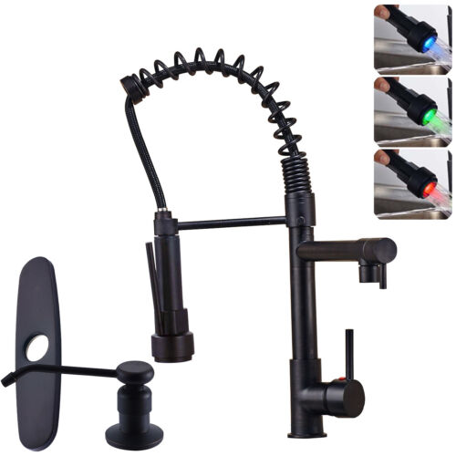 LED Spring Kitchen Sink Faucet Pull Down Sprayer Single Handle Oil Rubbed Bronze