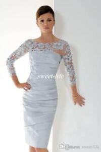 000d4bd07a3 Elegant Silver Short Mother Of The Bride Dresses 3 4 Sleeves Lace ...