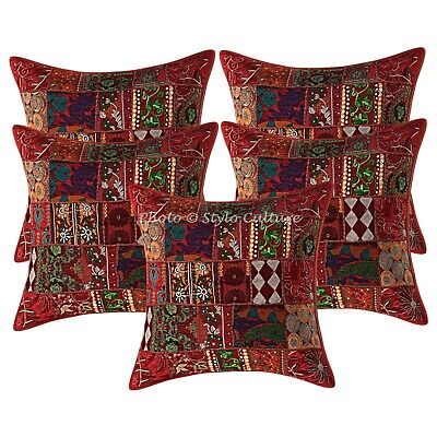 Traditional Cushion Cover Red 60 x 60 cm Patchwork Cotton 24 x 24 Throw Pillow